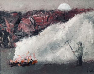 WILLIAM IRVINE Burning Brush 2 oil on board, 12 x 16 inches $2500