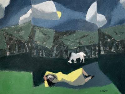 WILLIAM IRVINE Dora Dreaming, oil on canvas, 30 x 40 inches