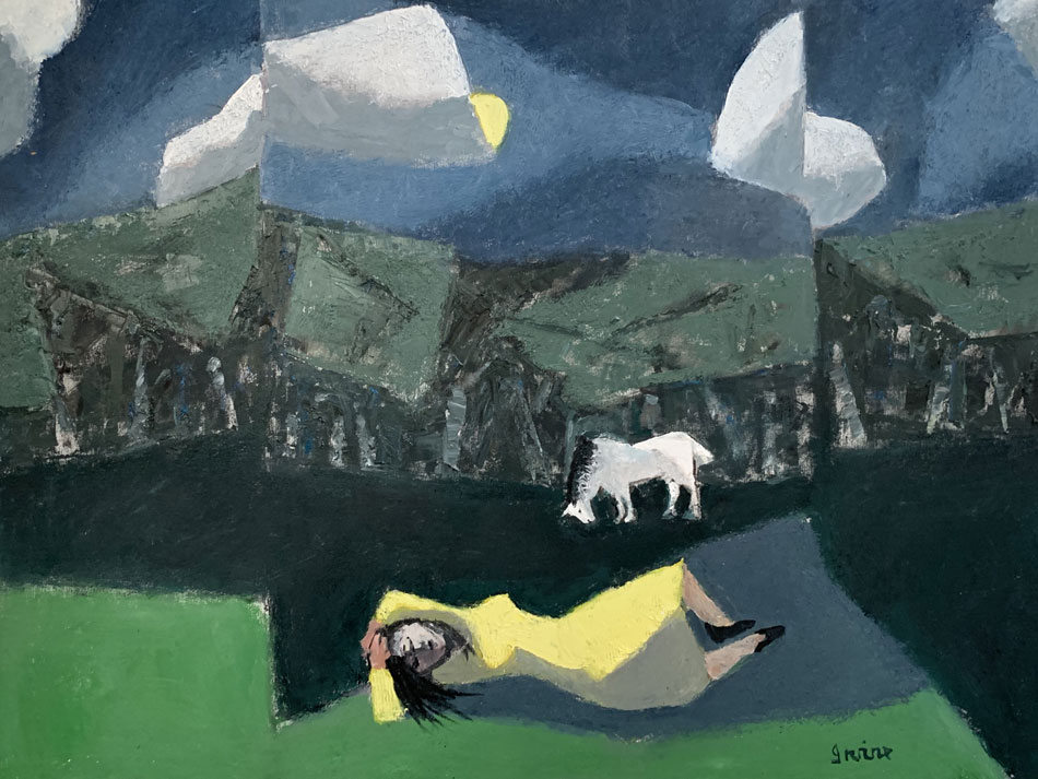 WILLIAM IRVINE Dora Dreaming, oil on canvas, 30 x 40 inches