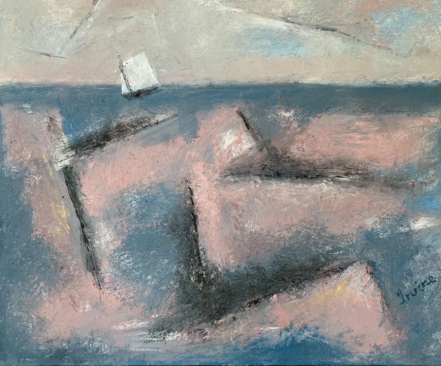 WILLIAM IRVINE Evening Sea, oil on canvas, 24 x 30 inches