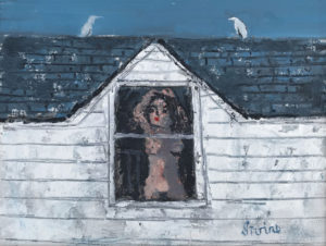 WILLIAM IRVINE Girl at the Window oil on board, 12 x 16 inches $2500