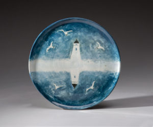 WILLIAM IRVINE Lighthouse in the Fog porcelain plate with Mark Bell, 14 inches $1500