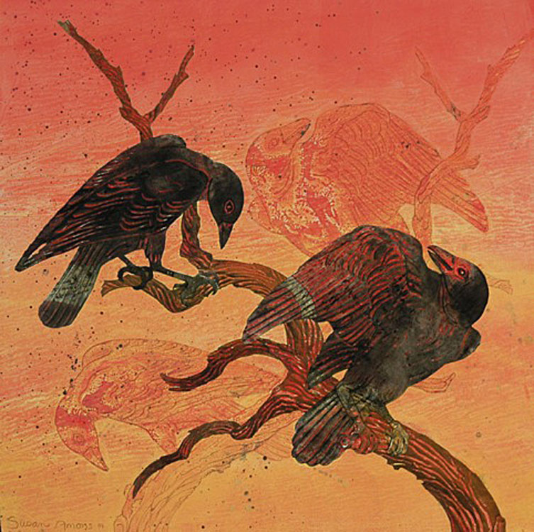 SUSAN AMONS Fire Crows II Left, monoprint with pastel, 20 x 20 inches