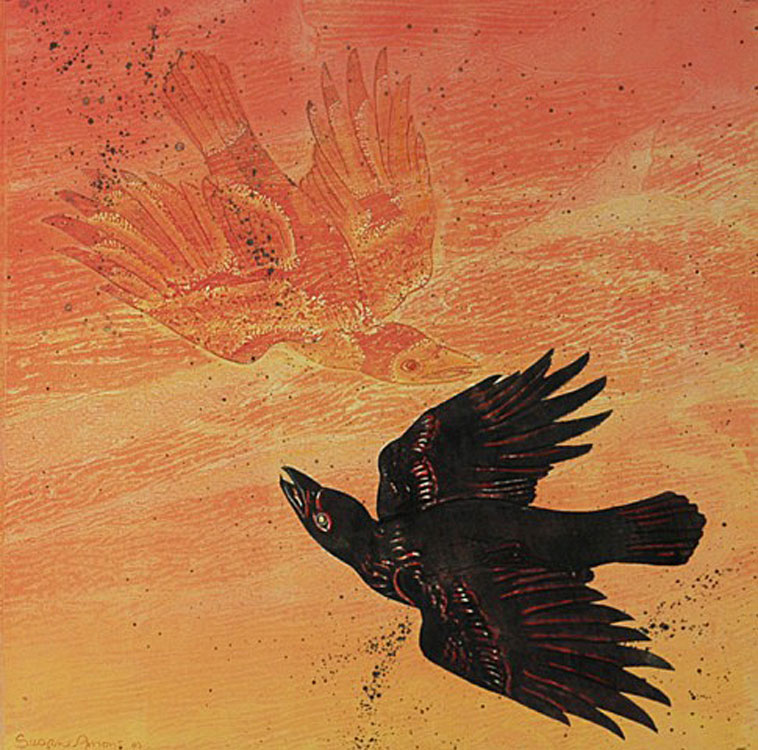 SUSAN AMONS Fire Crows II Right, monoprint with pastel, 20 x 20 inches