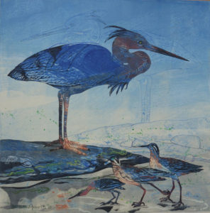 SUSAN AMONS Heron and Sandpipers III monoprint with pastel, 20 x 20 $900