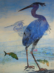 SUSAN AMONS Herons Surfside III (R) monoprint, 22 x 30 inches SOLD