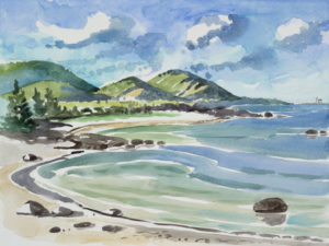 SUSAN AMONS Mount Desert from Old Cove, Great Cranberry Island watercolor, 18 x 24 inches $1,800