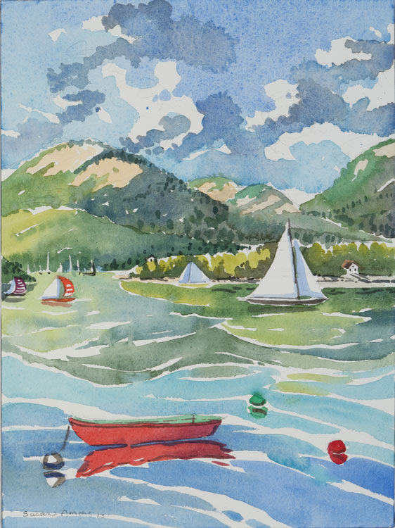 SUSAN AMONS Red Dingy, Great Cranberry Isles, watercolor, 9 x 12
