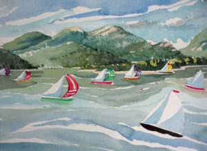 SUSAN AMONS Regatta, Great Cranberry Isle watercolor, 9 x 12 inches $950