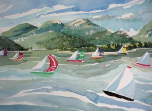 SUSAN AMONS Regatta, Great Cranberry Isle watercolor, 9 x 12 inches $950
