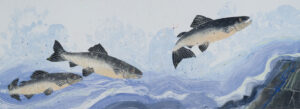 SUSAN AMONS Salmon River  II diptych monoprint, 26 x 36 inches See Detail Views Next) $5000
