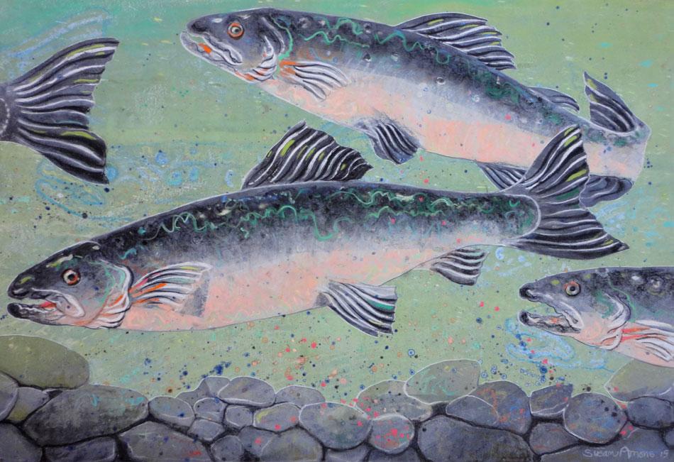SUSAN AMONS Salmon Run Green, monoprint with pastel, 18 x 26 inches