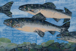 SUSAN AMONS Salmon Run V monoprint, 18 x 26 inches $900