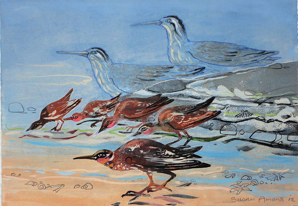 SUSAN AMONS Sandpipers Tidal Edge IV, monoprint with pastel, 10 x 12 inches