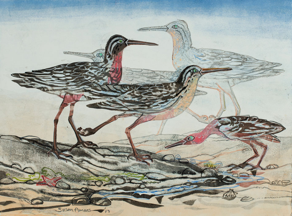 SUSAN AMONS Sandpipers IV, monoprint, 10 x 14
