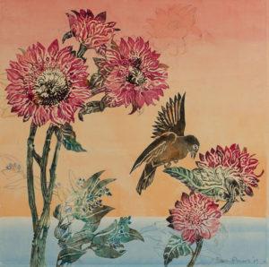 SUSAN AMONS Seaside Garden with Blackbird #4 monoprint, 17 x 17 inches $1000
