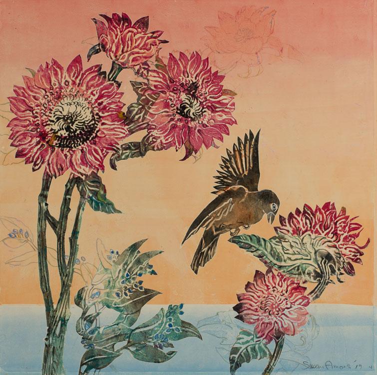 SUSAN AMONS Seaside Garden with Blackbird III, monoprint, 17 x 17