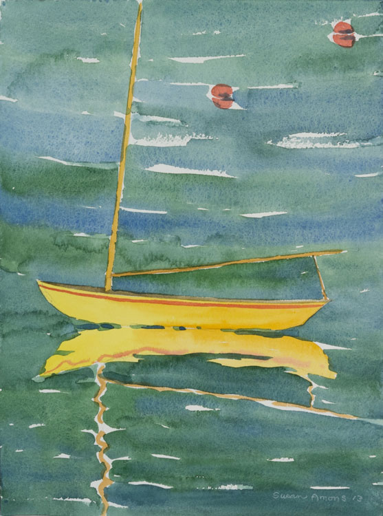 SUSAN AMONS Yellow Hereschoff on Green, Great Cranberry Isles, watercolor, 9 x 12