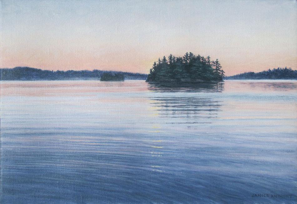 JANICE ANTHONY Evening Island, 9 x 13 inches