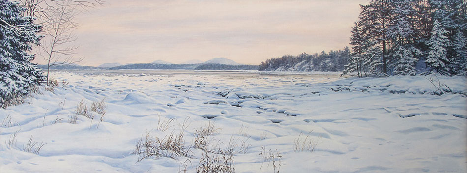 JANICE ANTHONY Sea Ice, Acadia, oil on linen, 15 x 40 inches