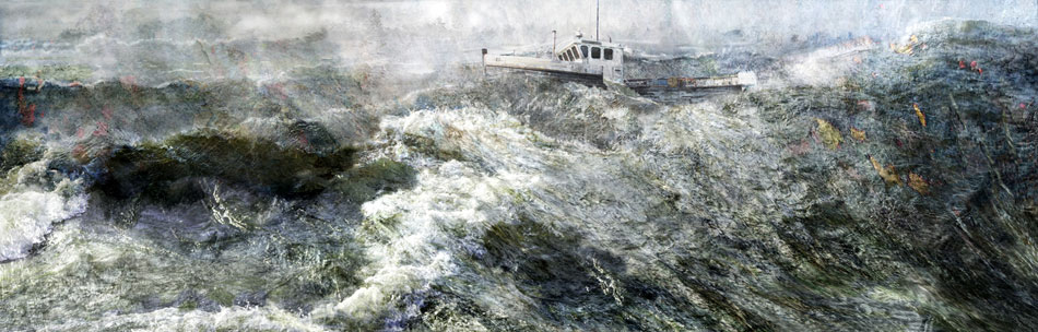 JEFFERY BECTON Off Spirit Ledge, digital montage, 25 x 78 inches