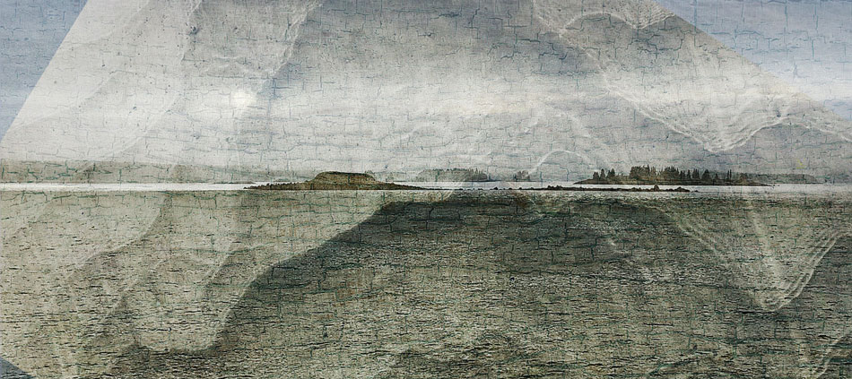 JEFFERY BECTON Passing Green Ledge, digital montage, 16 x 36