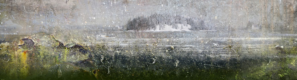 JEFFERY BECTON Scallop Season, digital montage, 12 x 44.5 inches