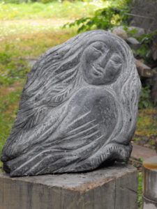 LISE BECU Mother Bird basalt, 17 x 6 x 7 inches