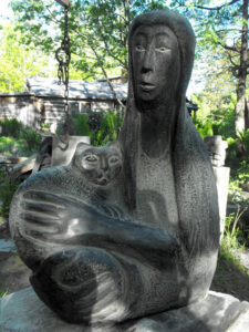 LISE BECU Woman with Cat basalt, 24h x 16 x 8 $4500
