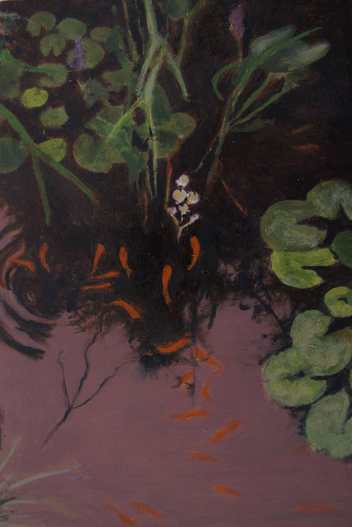 JUDY BELASCO Fish in Pond, oil on panel, 8.5 x 5 inches