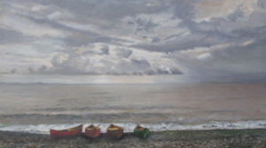 JUDY BELASCO Four Canoes oil on panel, 10 x 17.5 inches