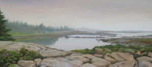 JUDY BELASCO Inlet from Island oil on canvas, 10 x 22.5 inches