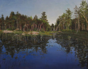 JUDY BELASCO Maine Inland Pond oil on panel, 22 x 27 inches