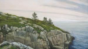 JUDY BELASCO Schoodic Island Cliff oil on panel, 12 x 22 inches