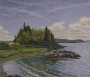 JUDY BELASCO Schoodic Mid-Tide oil on panel, 20 x 22 inches