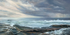 JUDY BELASCO Schoodic oil on canvas, 22 x 44 inches SOLD