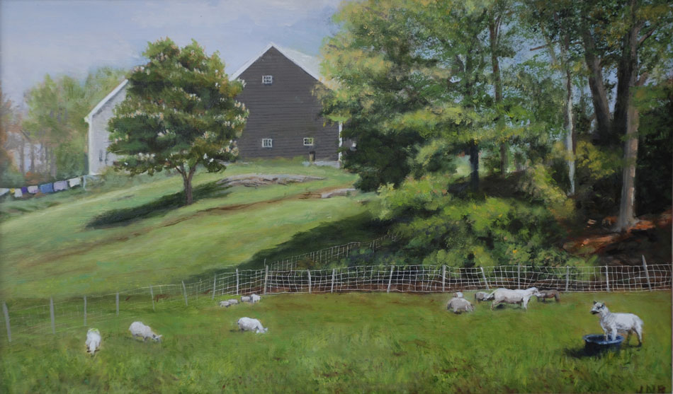 JUDY BELASCO Springtime at the Farm, oil on panel, 11 x 16 inches