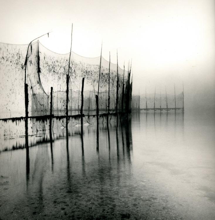 LISA TYSON ENNIS Fishing Weir Study IV, Deer Island, toned silver print, 14 x 14 inches