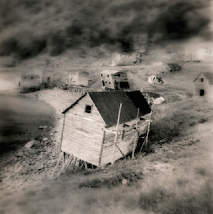 LISA TYSON ENNIS God Bless Our Home, Abandoned Outport, Newfoundland, toned silver print, 14 x 14 inches
