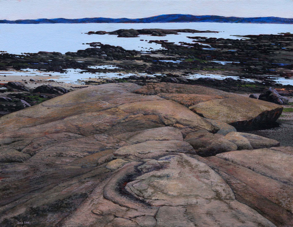 JUNE GREY Coastal Rocker, oil on linen, 14 x 18 inches