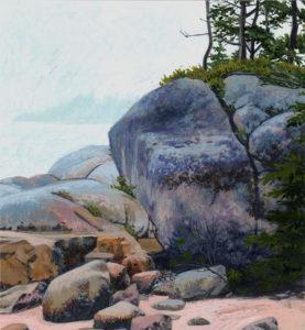 JUNE GREY Morning Stonington Beach acrylic on paper, 6 x 6.5 inches $950