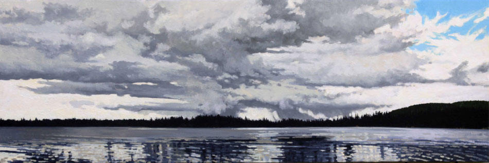 JUNE GREY Rapid Changes, oil on linen, 12 x 36 inches