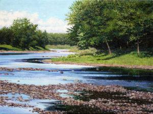 JUNE GREY Cobblestone Waterway oil on linen, 9 x 12 inches $1250