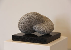 KAZUMI HOSHINO Composition Elements, Peruvian granite on black granite, 7 x 9 x 9 inches