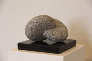 KAZUMI HOSHINO Composition Elements Peruvian granite on black granite, 7 x 9 x 9 inches $3000