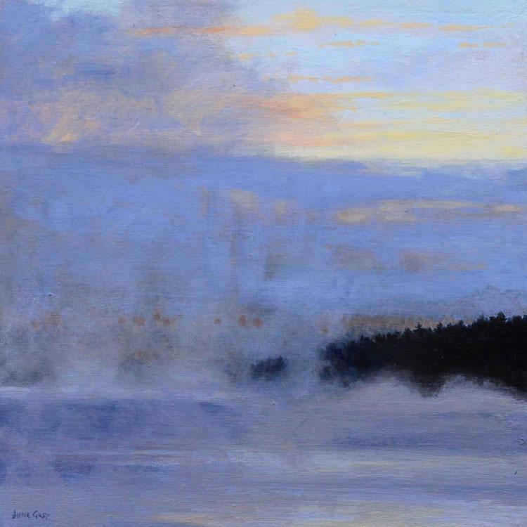 JUNE GREY Morning Breaks Through, acrylic, 10 x 10 inches