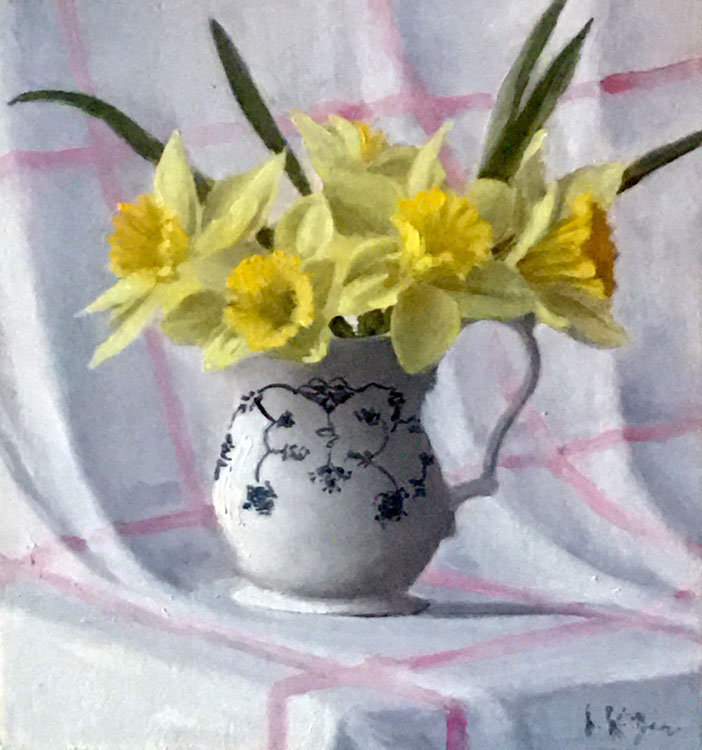 JOSEPH KEIFFER Daffodils in a Meissen Pitcher oil on canvas, 8 x 8 inches
