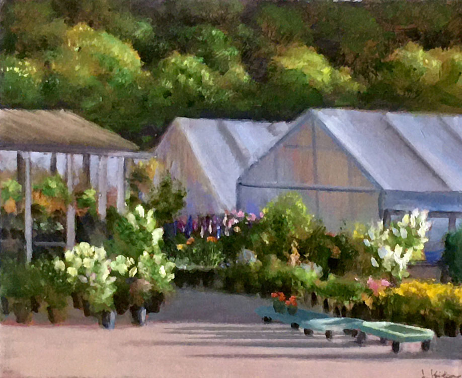 JOSEPH KEIFFER Garden Nursery oil on canvas, 10 x 12 inches