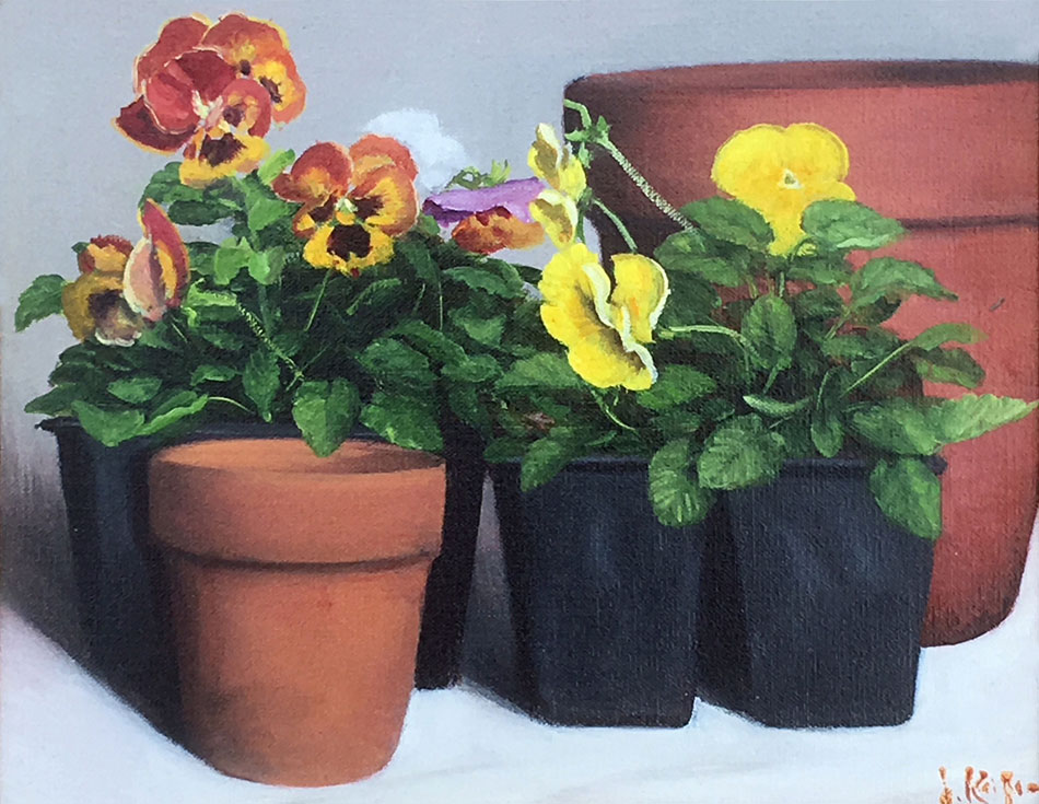 JOSEPH KEIFFER Pots and Pansies, oil on canvas, 8 x 10 inches