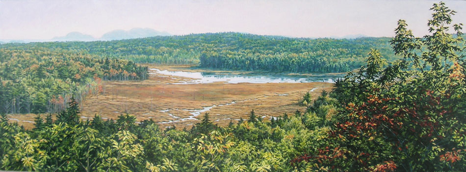 JANICE ANTHONY Pemetic and Cadillac from Schoodic Mountain, acrylic on canvas, 12 x 32 inches